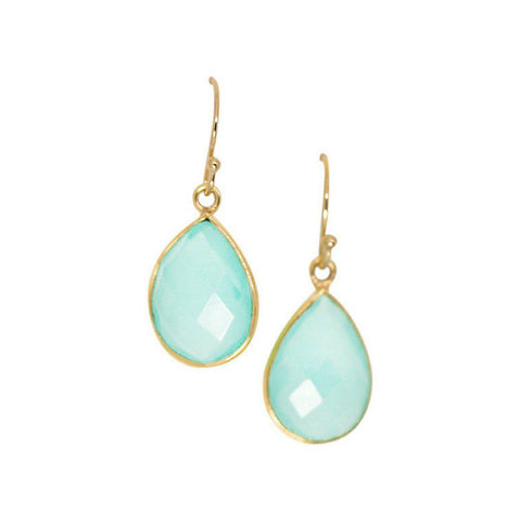 Mini Teardrop Earrings in Chalcedony