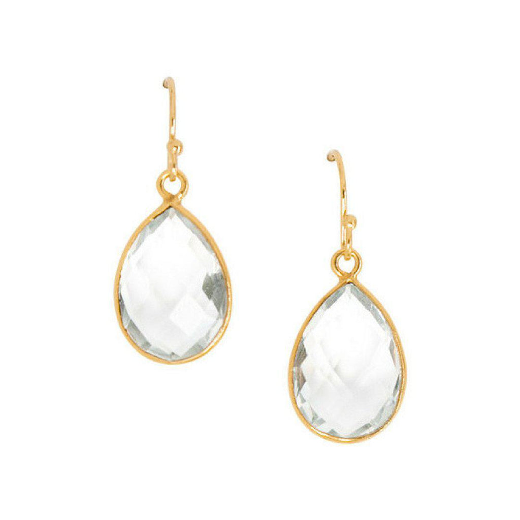 Mini Teardrop Earrings in Crystal Quartz-Earrings-Waffles & Honey Jewelry-Waffles & Honey Jewelry