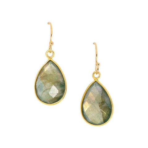 Mini Teardrop Earrings in Labradorite