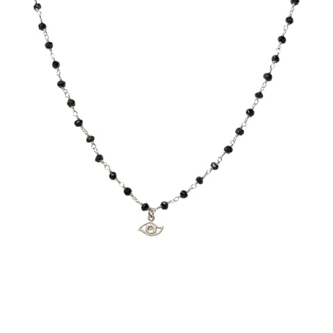 Monica Rosary Evil Eye Choker in Silver