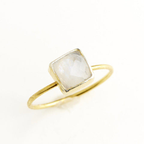 Moonstone Square Stacking Ring