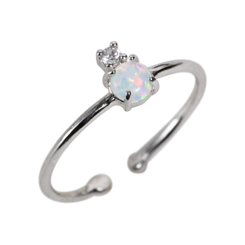 Opal and CZ Crown Ring in Silver