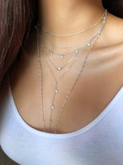 Opal Lariat in Silver-Necklaces-Waffles & Honey Jewelry-Waffles & Honey Jewelry