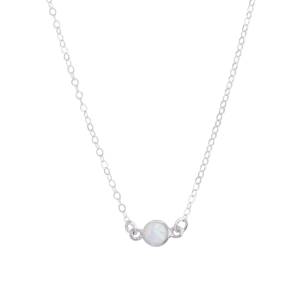 Opal Solitaire Necklace in Silver-Necklaces-Waffles & Honey Jewelry-Waffles & Honey Jewelry