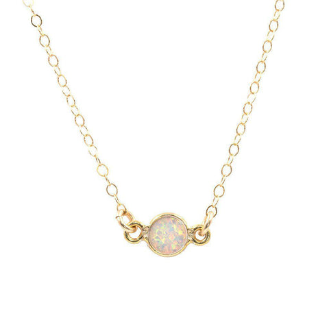 Opal Solitaire Necklace