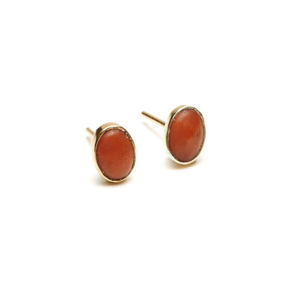 Oval Studs in Coral-Earrings-Waffles & Honey Jewelry-Waffles & Honey Jewelry