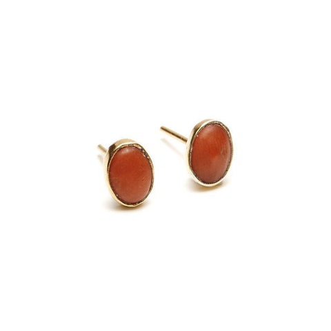 Oval Studs in Coral