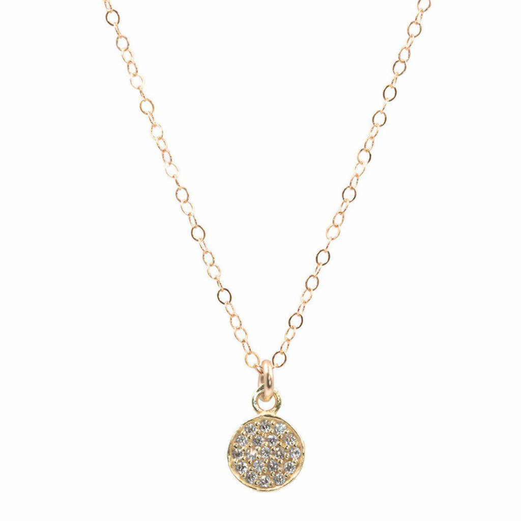 Pave CZ Coin Necklace-Necklaces-Waffles & Honey Jewelry-Waffles & Honey Jewelry