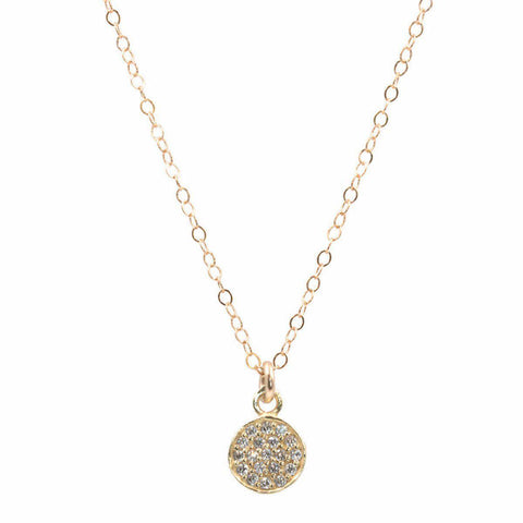 Pave CZ Coin Necklace