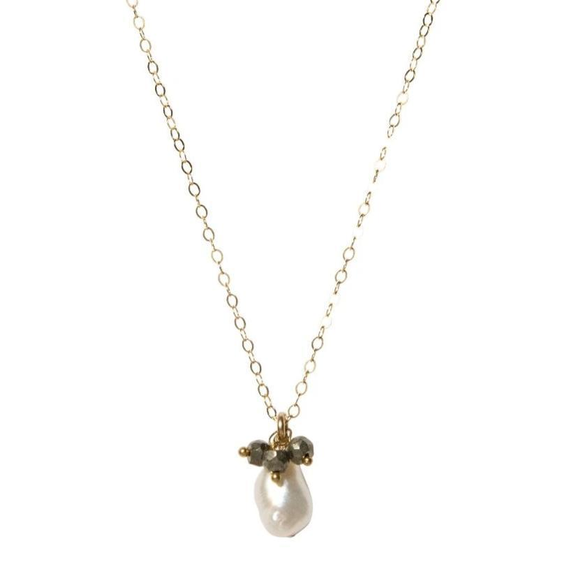Pearl and Pyrite Keepsake Necklace-Necklaces-Waffles & Honey Jewelry-Waffles & Honey Jewelry