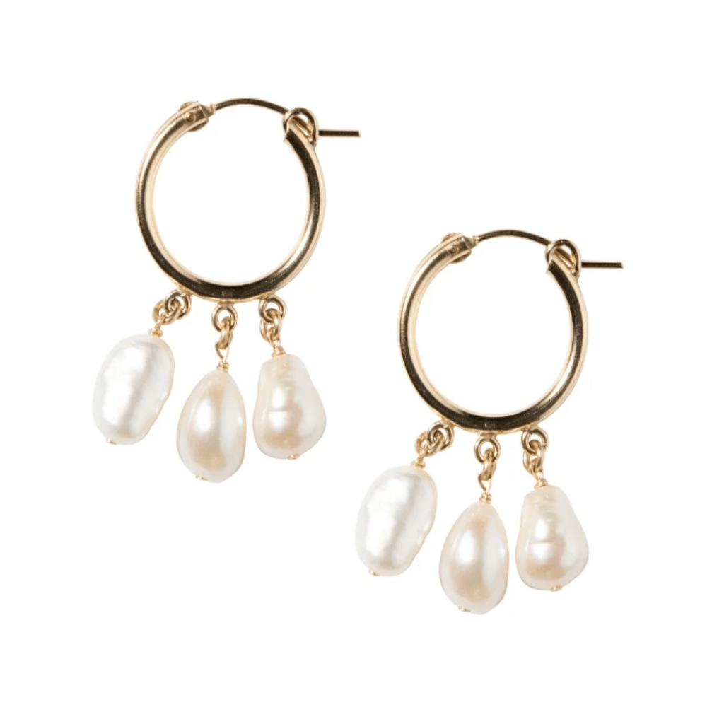 Pearl Shaker Hoops in Gold-Earrings-Waffles & Honey Jewelry-Waffles & Honey Jewelry