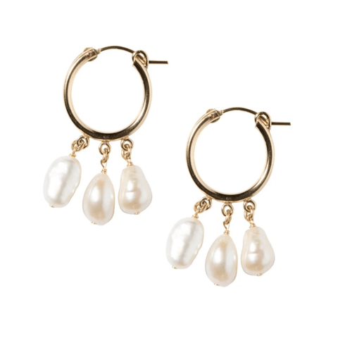 Pearl Shaker Hoops in Gold