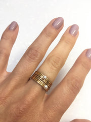 Pearl Stacking Ring in Gold-Rings-Waffles & Honey Jewelry-Waffles & Honey Jewelry