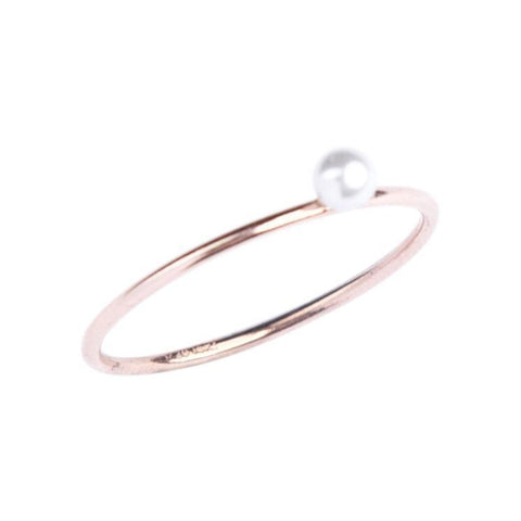 Pearl Stacking Ring in Rose Gold