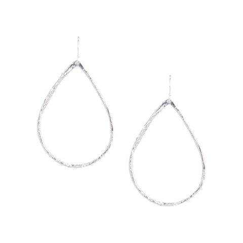 Petite Hammered Hoops in Silver