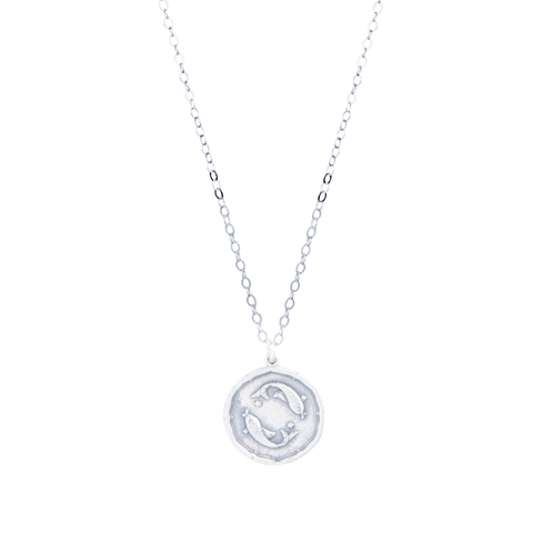 Pisces Zodiac Necklace in Silver