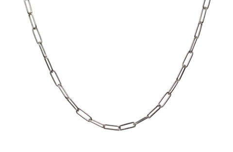 Rectangle Link Layering Chain in Silver