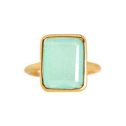 Rectangle Ring in Chalcedony