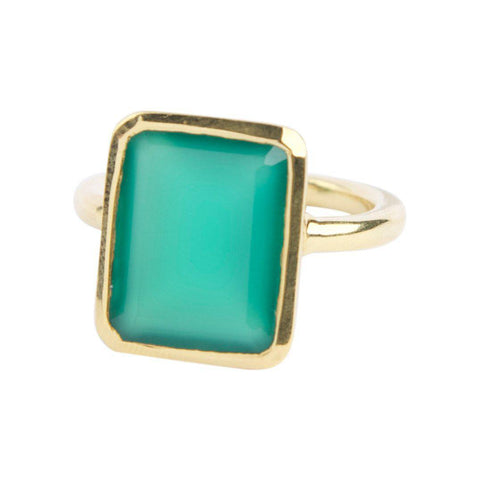Rectangle Ring in Green Onyx