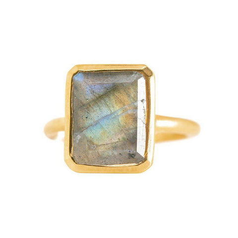 Rectangle Ring in Labradorite