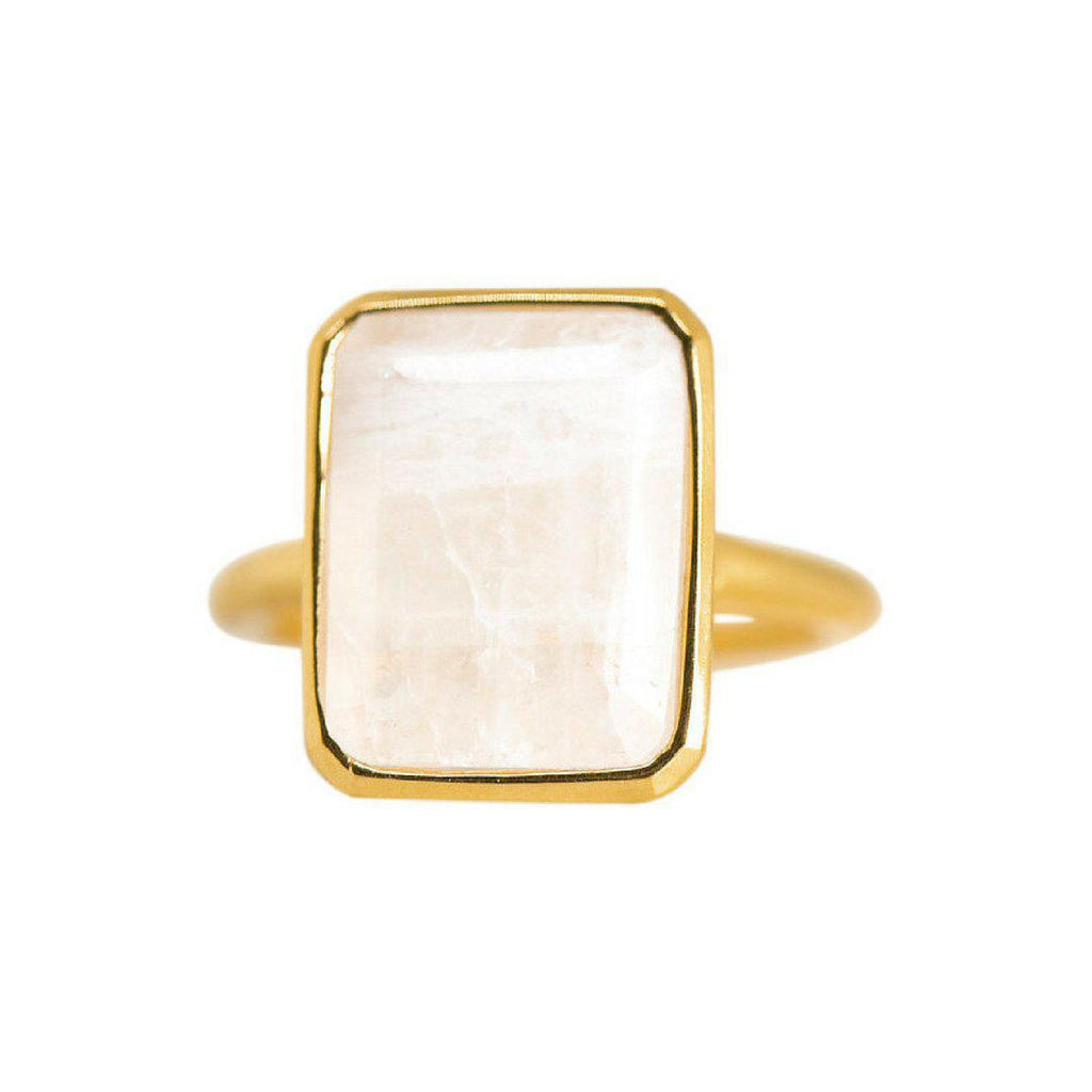 Rectangle Ring in Moonstone-Rings-Waffles & Honey Jewelry-Waffles & Honey Jewelry