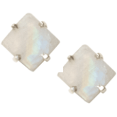 Rough Cut Moonstone Studs