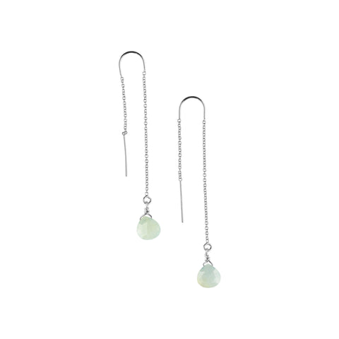 Silver Ear Threaders in Chalcedony