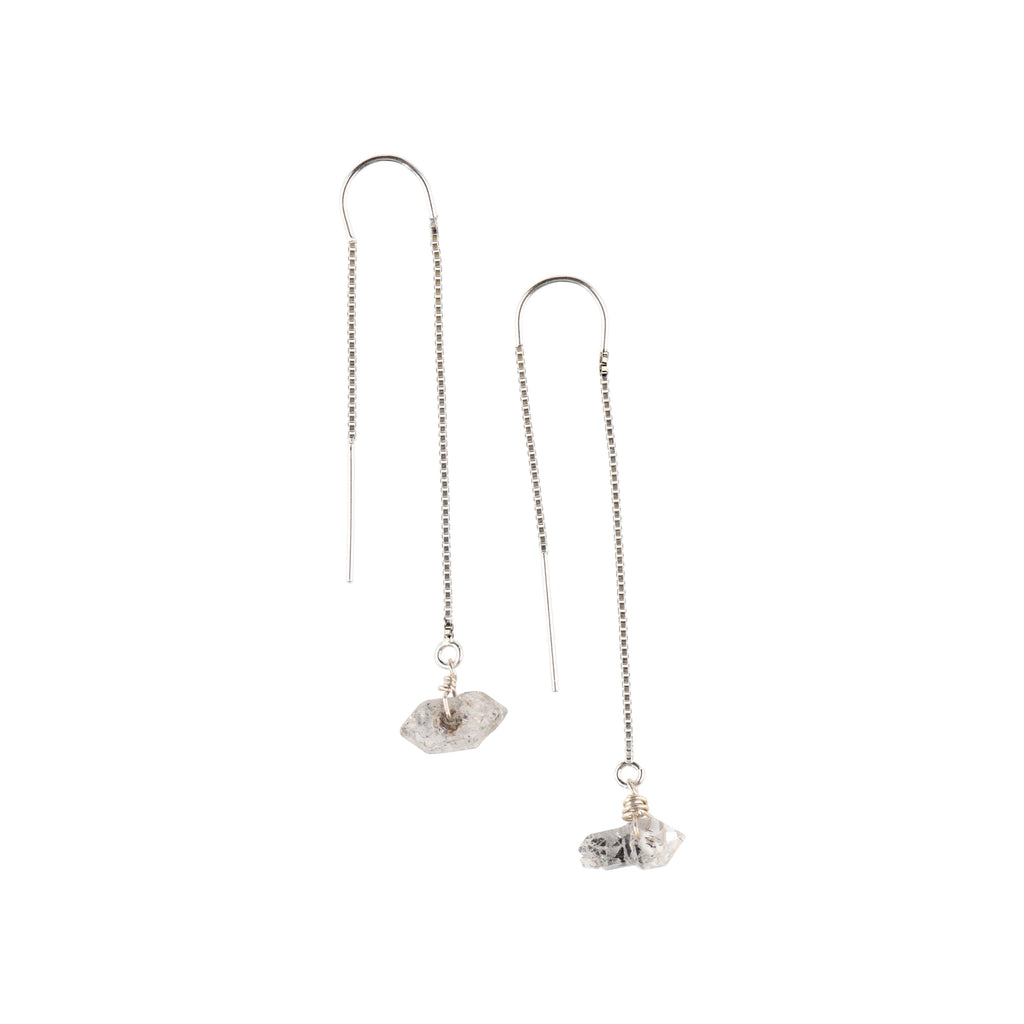 Silver Ear Threaders in Herkimer Diamond-Earrings-Waffles & Honey Jewelry-Waffles & Honey Jewelry