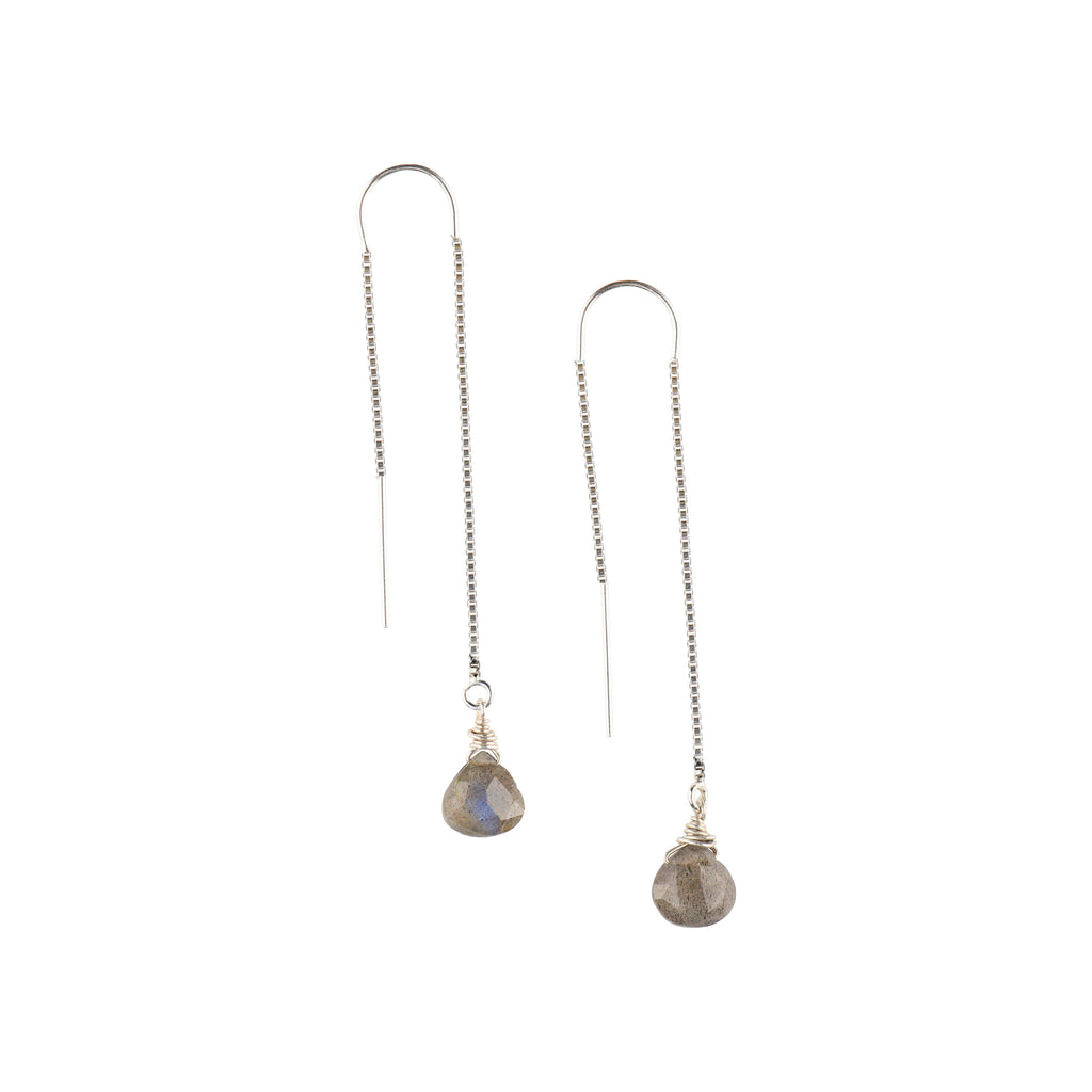 Silver Ear Threaders in Labradorite-Earrings-Waffles & Honey Jewelry-Waffles & Honey Jewelry