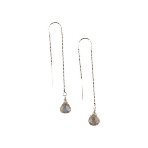 Silver Ear Threaders in Labradorite