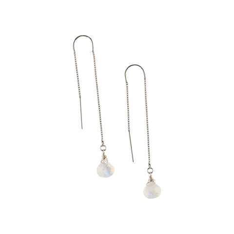 Silver Ear Threaders in Moonstone