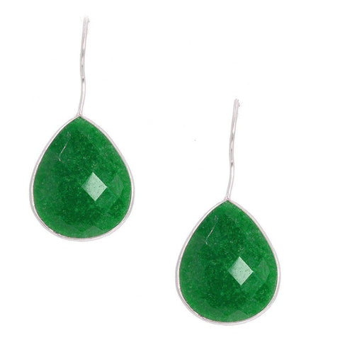 Silver Emerald Teardrop Earrings