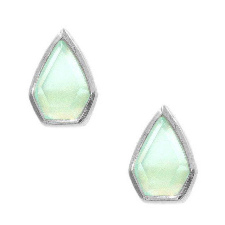 Silver Gemstone Diamond Studs in Chalcedony-Earrings-Waffles & Honey Jewelry-Waffles & Honey Jewelry