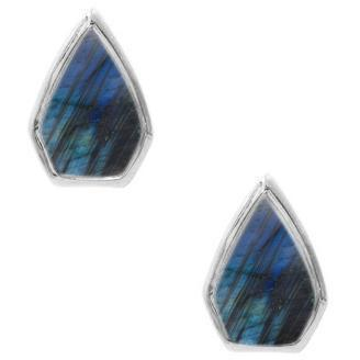 Silver Gemstone Diamond Studs in Labradorite
