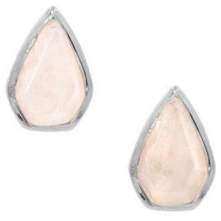 Silver Gemstone Diamond Studs in Moonstone