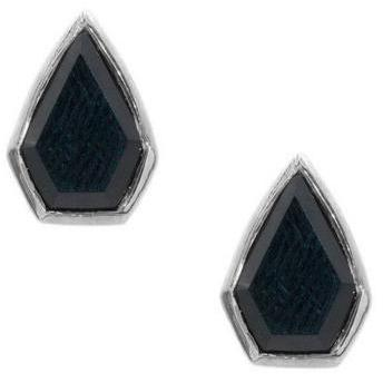 Silver Gemstone Diamond Studs in Onyx