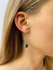 Silver Margi Hoops in Green Onyx-Earrings-Waffles & Honey Jewelry-Waffles & Honey Jewelry