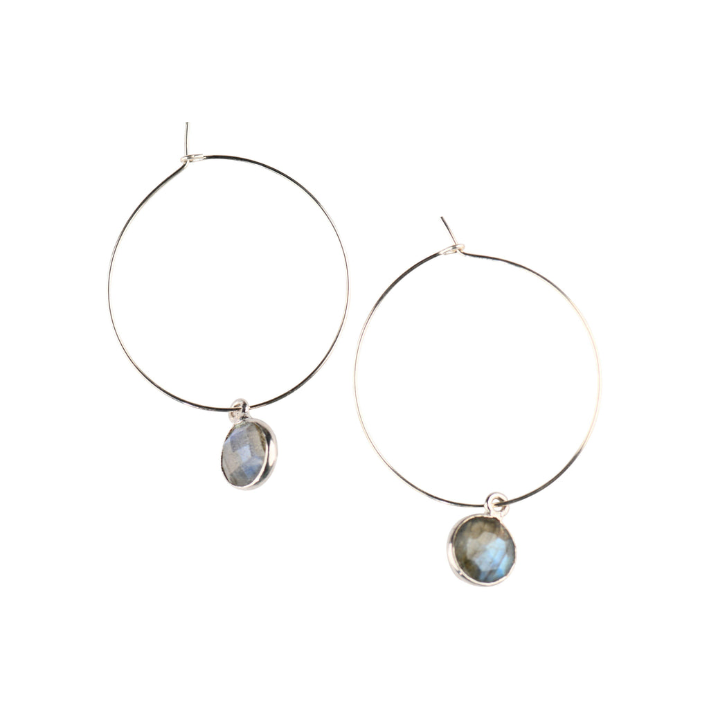 Silver Margi Hoops in Labradorite-Earrings-Waffles & Honey Jewelry-Waffles & Honey Jewelry