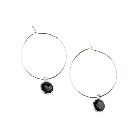 Silver Margi Hoops in Onyx