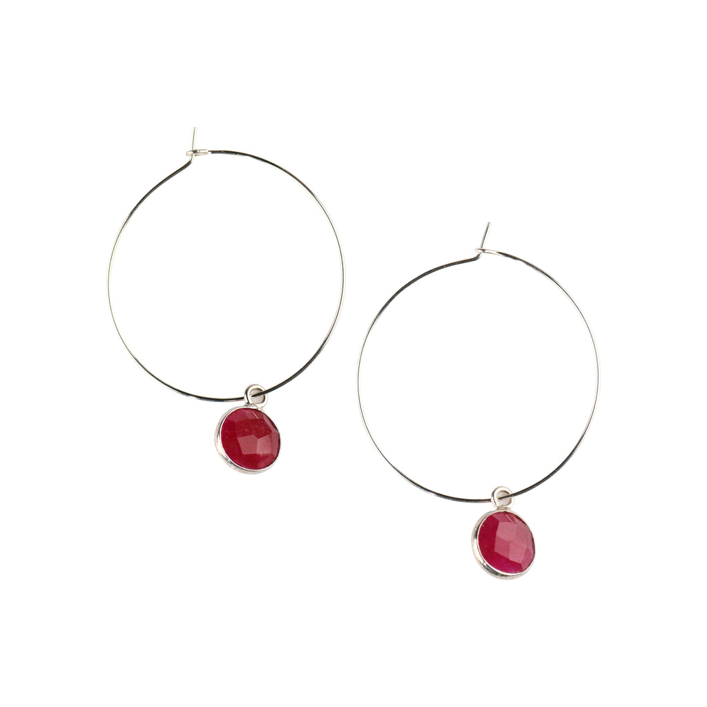 Silver Margi Hoops in Ruby-Earrings-Waffles & Honey Jewelry-Waffles & Honey Jewelry