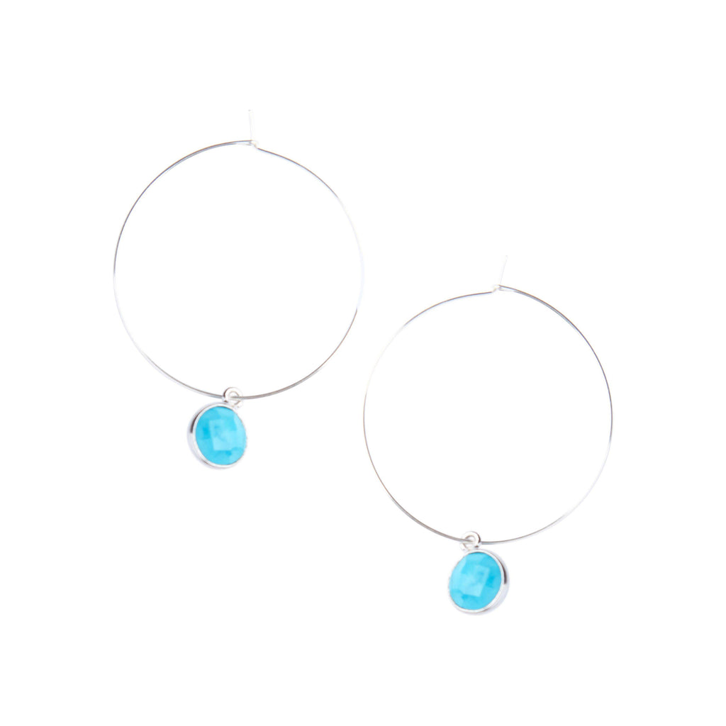 Silver Margi Hoops in Turquoise-Earrings-Waffles & Honey Jewelry-Waffles & Honey Jewelry