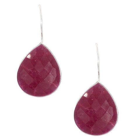 Silver Ruby Teardrop Earrings