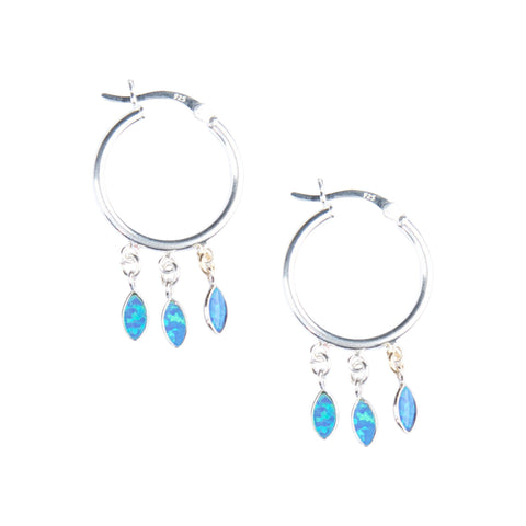 Silver Shaker Hoops in Blue Opal
