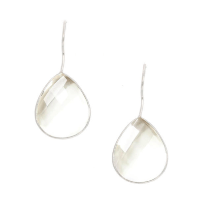 Silver Single Pear Teardrop Earrings in Crystal Quartz