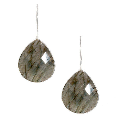 Silver Single Pear Teardrop Earrings in Labradorite