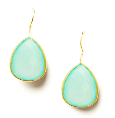 Single Pear Teardrop Earrings in Chalcedony