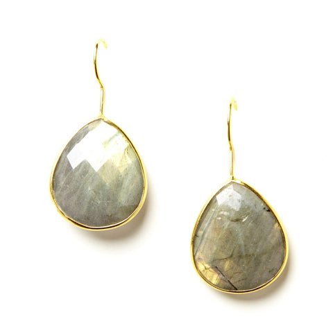 Single Pear Teardrop Earrings in Labradorite