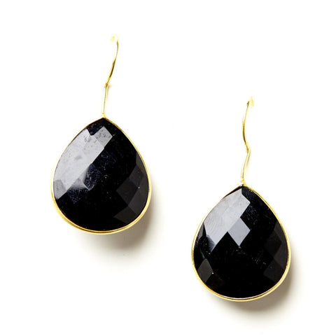 Single Pear Teardrop Earrings in Onyx