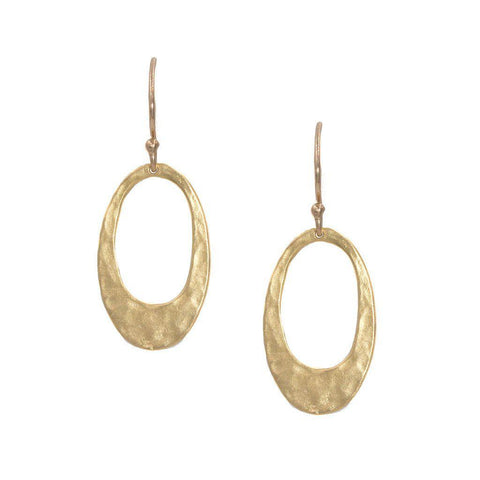 Small Hammered Oval Earrings in Gold