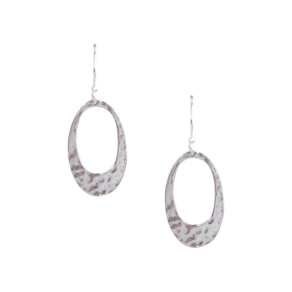 Small Hammered Oval Earrings in Silver-Earrings-Waffles & Honey Jewelry-Waffles & Honey Jewelry